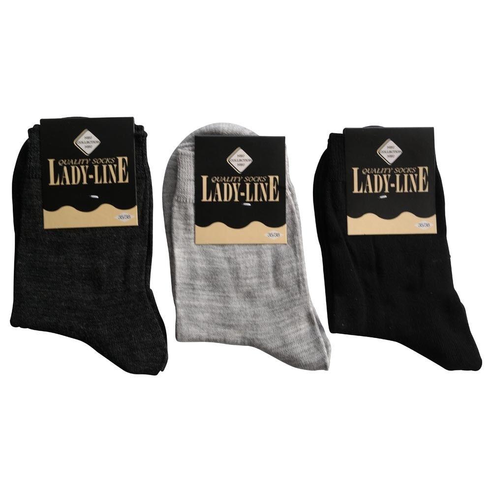 6 Paar Damen Wollsocken Socken 82% Wolle Schwarz Grau Anthrazit Fein und Glatt