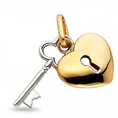 Gold Polished Lock Charm - 14k Yellow White Gold Heart Lock & Key Pendant Love Charm Polished Two Tone