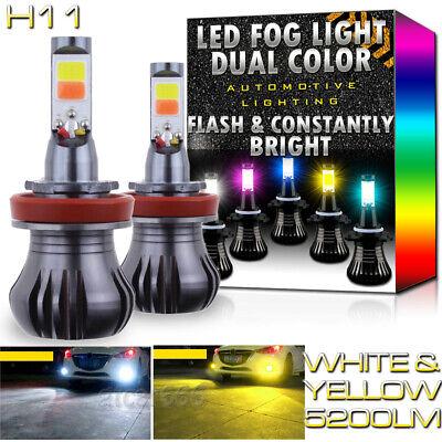 H11 H8 H9 H16 LED Fog Light Bulbs Dual Color Strobe Flash 6K White + 3K Yellow