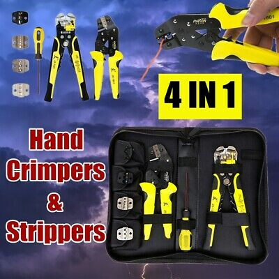 Insulated Cable Connectors Terminal Ratchet Crimping Tool Wire Crimper Plier Set