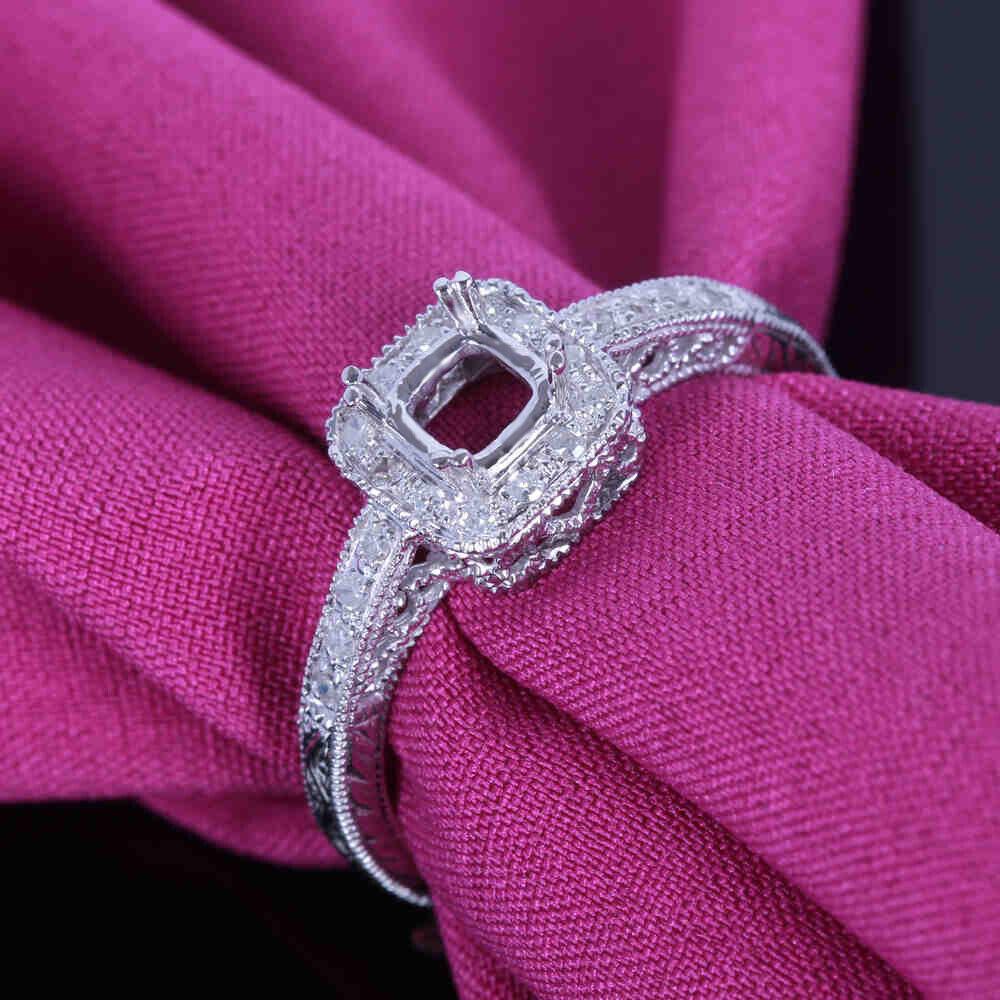 10K White Gold 4X4MM Cushion Filigree Semi Mount Diamond Jewelry ...
