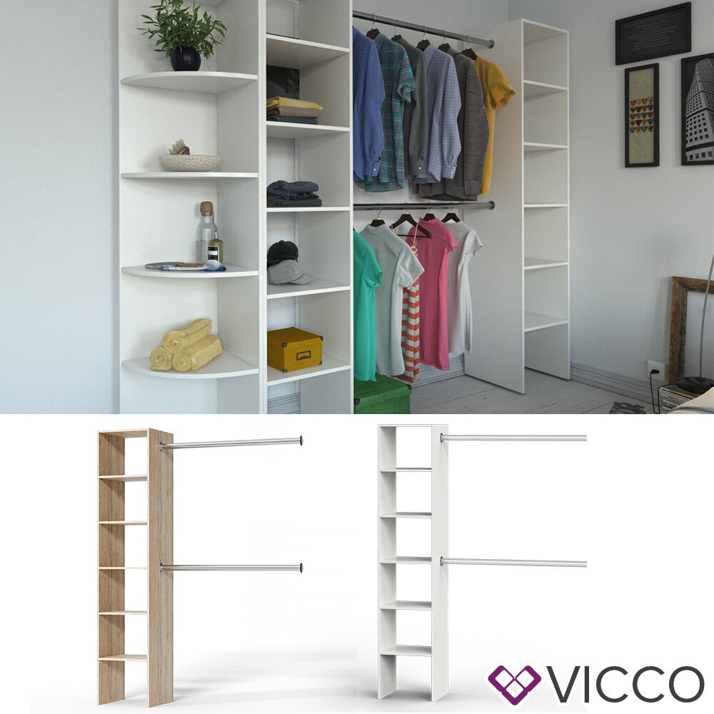 vicco kleiderschrank wei eiche offen begehbar regal kleiderst nder garderobe ebay. Black Bedroom Furniture Sets. Home Design Ideas