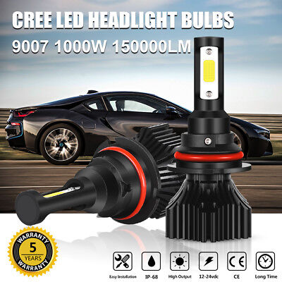 9007 Hb5 Cree Led Headlight Conversion Kit Bulbs 1000W 150000Lm Lamp Hi Lo 6000K