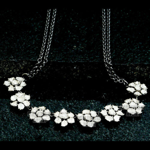5.90ct Real Old Mine Antique Cut Diamond Silver Vintage Cluster Necklace Jewelry
