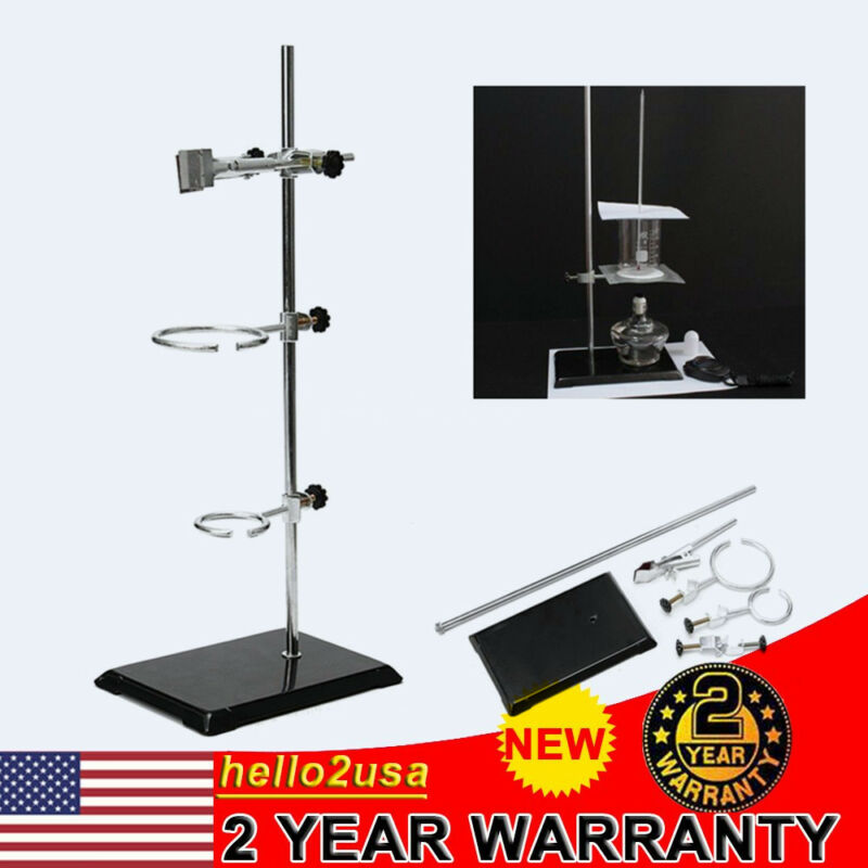 50cm Laboratory Stand Support Base Pillar Frame Ring Clips Chemistry Supplies