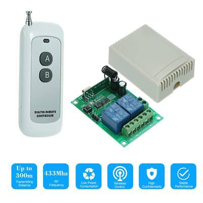 433MHz DC 12V 2CH Universal 10A Relay Wireless Remote Control Switch G8N1