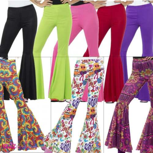 Ladies 1960s 1970s Flared Flares Trousers Adult Disco Hippy Fancy Dress Costume