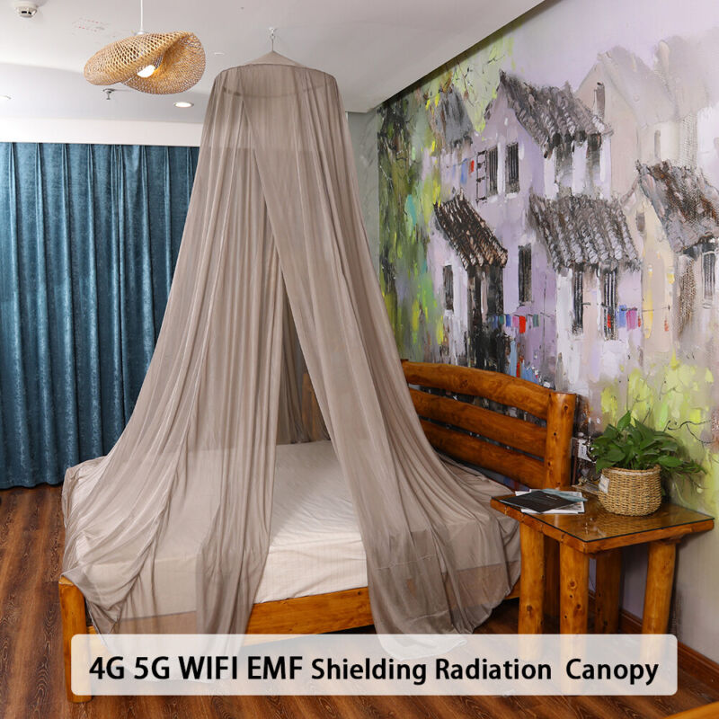 5G Protection EMF EMI Shielding Canopy Mosquito Net With Earthing Anti Radiation