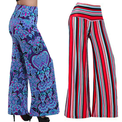 Women Loose Wide Leg Stretchy Printed Elastic Waistband Mid-waist Wide Pants