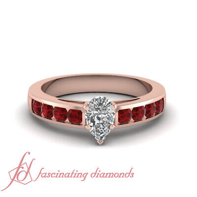 1.50 Carat Ruby And Pear Shaped Diamond Anniversary Ring In 14K Rose Gold GIA