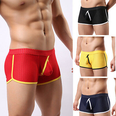 Men Boxer Briefs Trunks Underwear Nylon Shorts Low-Rise Bulge Pouch Underpants
