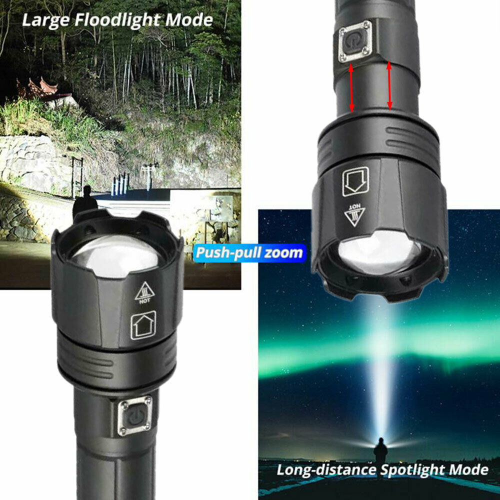 Details about  /200000LM Zoomable LED Super Bright Flashlight Torch Lamp Light LED Camping