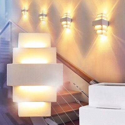 Wandleuchte Schlaf Wohn Zimmer Lampen weiß Flur Leuchten Wandlampe Gips bemalbar