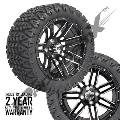 "Set of 4-14"" Sledge Mach/Black Wheels on 23"" Carlisle A.T. Tires Lift Golf Carts"