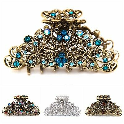 USA Medium elegant metal flower butterfly rhinestone crystal hair claw Clip pin  - Elegant Butterfly Rhinestones