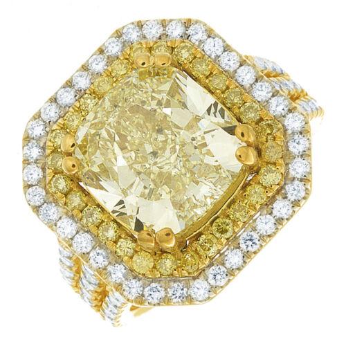 Diamond Engagement Ring GIA Certified 5.25 CT Fancy Yellow Cushion Cut Platinum 2