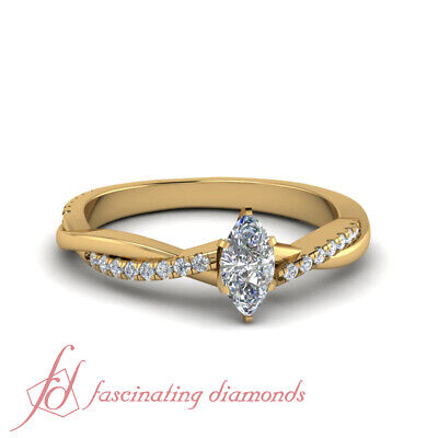 3/4 Carat Marquise Cut Diamond Twisted Vine Engagement Ring FLAWLESS 18K GIA