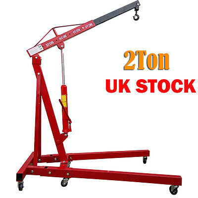 Red 2 Ton Hydraulic Folding Engine Crane Stand Hoist lift Hydraulic Jack Wheel