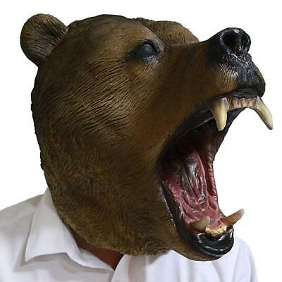 Grizzly Bear Head Mask Animal Latex Mask Full Head  Disguise Halloween - Grizzly Bear Costumes