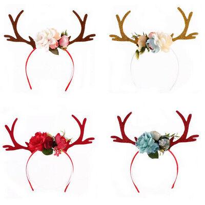 Flower Headband For Girls Antler Party Crown Deer Hairband Women (Headbands For Girls)