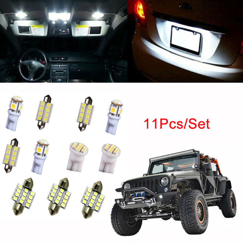 11x WHITE LED Interior Light Package Kit Bulb Universal Lamp Direct Replacement