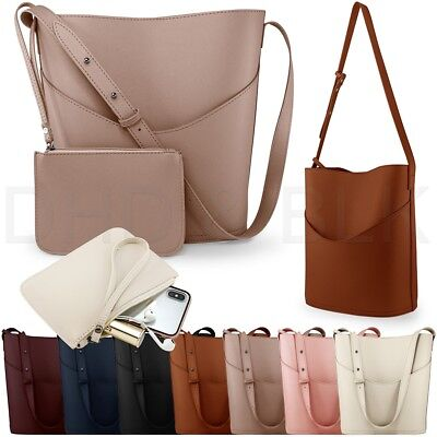 Women Leather Bucket Tote Shoulder Bag Fashion Handbag Purse with Small Bag