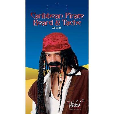 Karibischer Pirat Bart & Tash Falsch Schnurrbart Tache für Kostüm Jack Sparrow