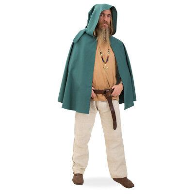 Cape mit Kapuze Mittelalter-Kostüm Unisex Outfit Grün Fasching Umhang121706013F
