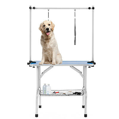 36'' Portable Large Dog Grooming Table Pet Grooming Beauty Table 2 Loop Arm Blue