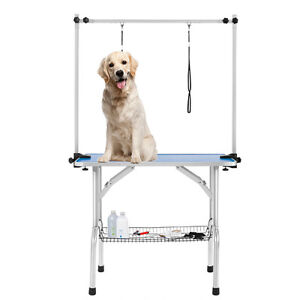 36 Portable Large Dog Grooming Table Pet Beauty 2 Loop Arm Blue