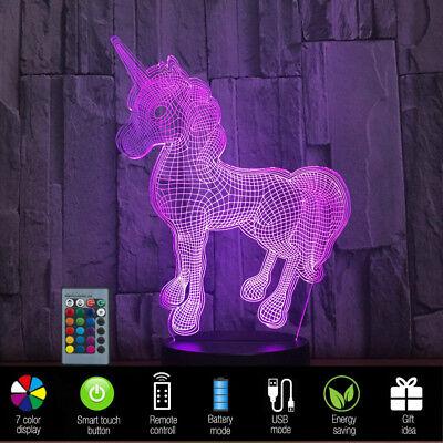 Kid Lantern (RGB 3D Unicorn LED Desk Lamp Remote Control Night light Kid Cartoon Lantern)