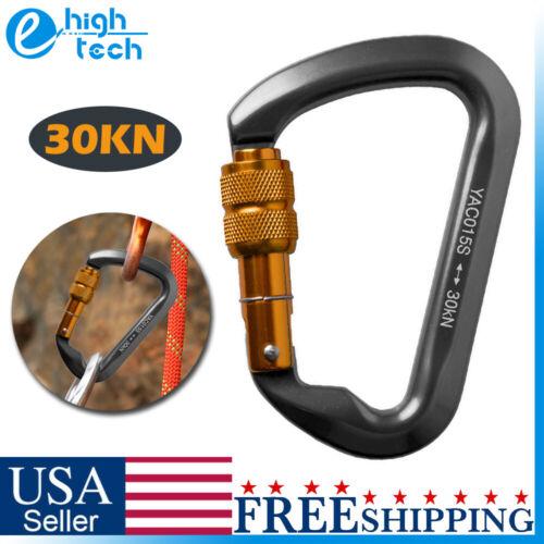 30KN Heavy Duty Aluminum Climbing Carabiner D-Ring Screw Loc