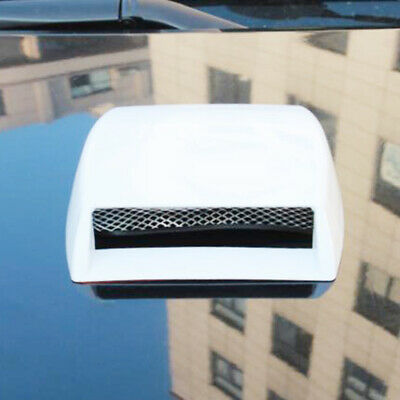 Universal Decorative Air Flow Intake Scoop Turbo Bonnet Vent Cover Hood White