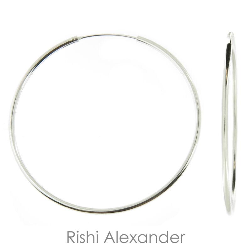 925 Sterling Silver 1.5mm Endless Hoop Earrings All Sizes
