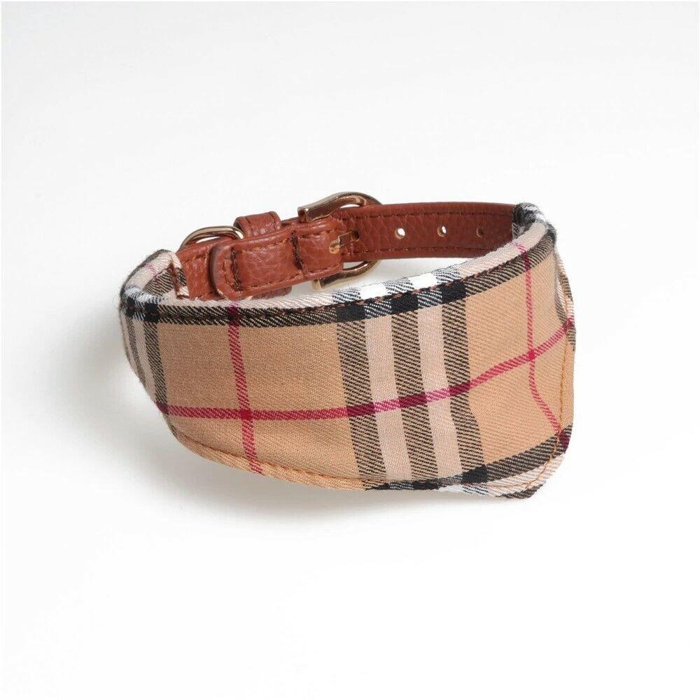 Plaid Dog Cat Collar Bandana – Pet Pu Leather Adjustable Gold Buckle Luxury Collars