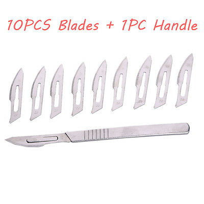 10pcs Steel 23 Medical Surgical Blades Circuit Board 4 Scalpel Knife Handle