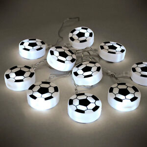Boys Bedroom Battery Operated White LED Football Fairy String Lights Lamp NEW