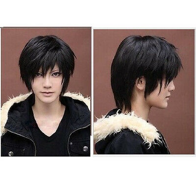 Vogue short black straight cosplay full BLACK wig/wigs festival gift for men New - Men Wigs