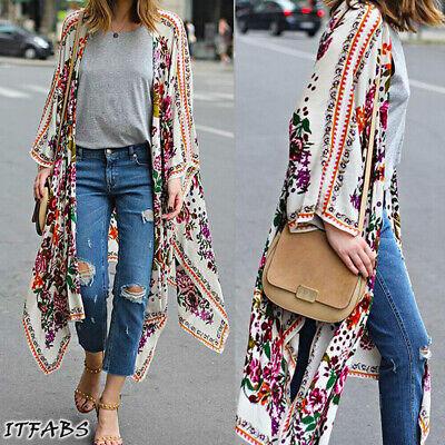 Women's Loose Blouse Summer Casual Boho Chiffon Coat Shawl Kimono Cardigan Tops