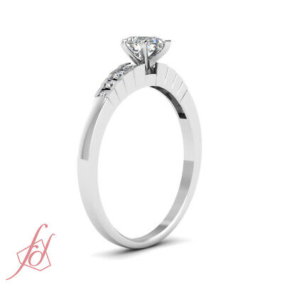 1/2 Carat Channel Set Womens Diamond Engagement Ring With Pear Shaped Center GIA 2