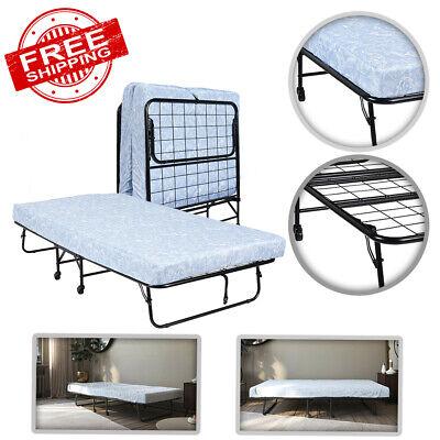 Folding Rollaway Twin Guest Bed Frame with 5-Inch Memory Foam Mattress -