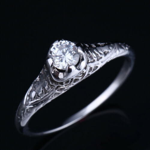 4mm Flawless.5ct Flawless Cubic Zirconia Solid 10K White Gold Jewelry Fine Ring