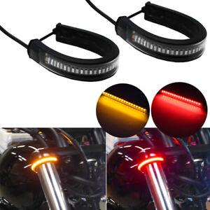 2x Switchback R/A LED Fork Rear Turn Signal Brake Strip Lights For Motorcycle