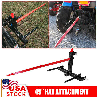 3 Point Attachment W49 Hay Bale Spear 3000 Lbs 2x17 Stabilizers Cat 1 Tractor