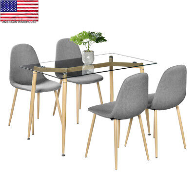 5 Piece Dining Table Set 4 Chair Modern Style Simple Dining Chairs Furniture Contemporary Style Dining Table
