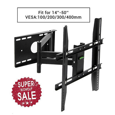 Full Motion TV Wall Mount Bracket Tilt 14 23 26 27 32 40 42 46 47 50'' LED LCD
