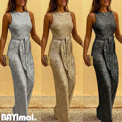 Women Sequin Belted Sleeveless Jumpsuit Ladies Casual Party Backless Playsuit UK