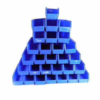 Lot 29 U-line Stackable Storage Bins Plastic Container Blue 15 X 5.5 X 5