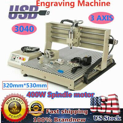 Cnc 3040 Router Engraver 3 Axis Engraving Milling Machine 400w 3d Cut Carve Usb