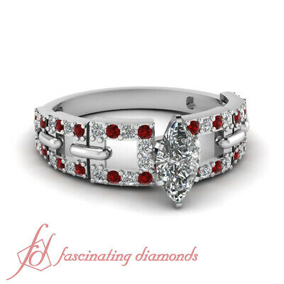 1.35 Ct Marquise Cut Linked Pave Diamond Rings With Ruby Gemstone GIA Certified